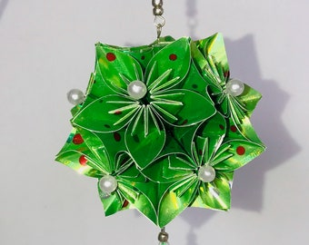 ORNAMENT STAR Kusudama Modular Origami HANDMADE in Shimmery neon Green Paper, Displayed on Gold Tone Metal Ornament Stand