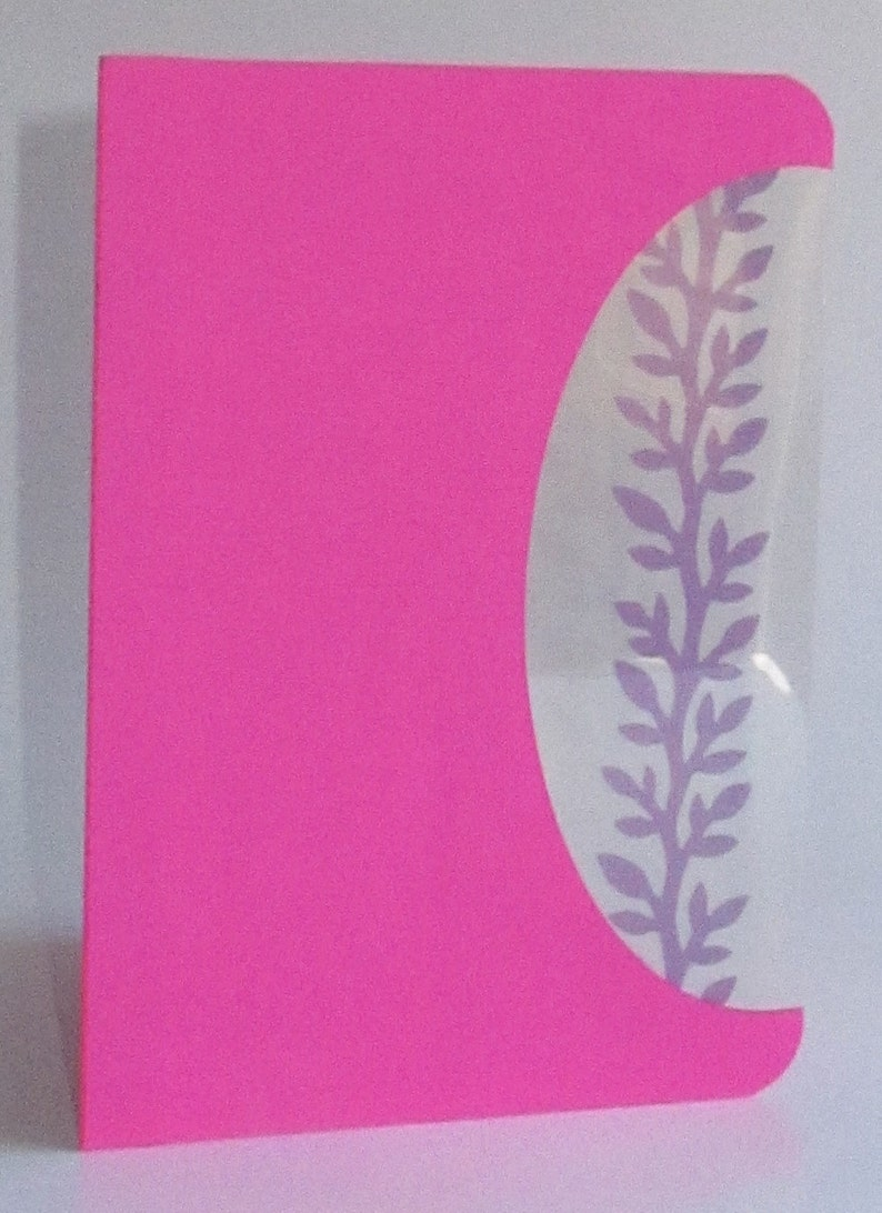 FIGHT CANCER 2 x Cards or Event Invitations Handmade with a Silhouette Cutout Insert of a Branch wLeaves in Pink Shades OOAK