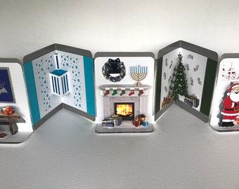 INTERFAITH JEWISH/CHRISTIAN Accordion Pop Up Book-Card w/Holidays' Elements Original Design CUSTOm ORDEr Handmade w/Various Colors OOaK