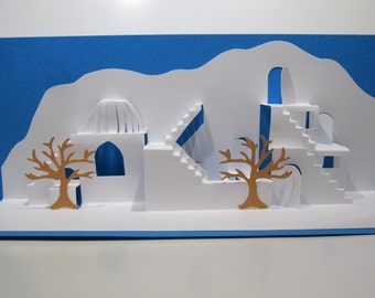 Mediterranean Landscape ORIGINAL DESIGN 3D Pop up Card Home Decoration Origamic Architecture in White and Turquoise OoAK SIGNED