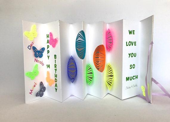 B day greeting card original pop up accordion design custom m4hsunfo