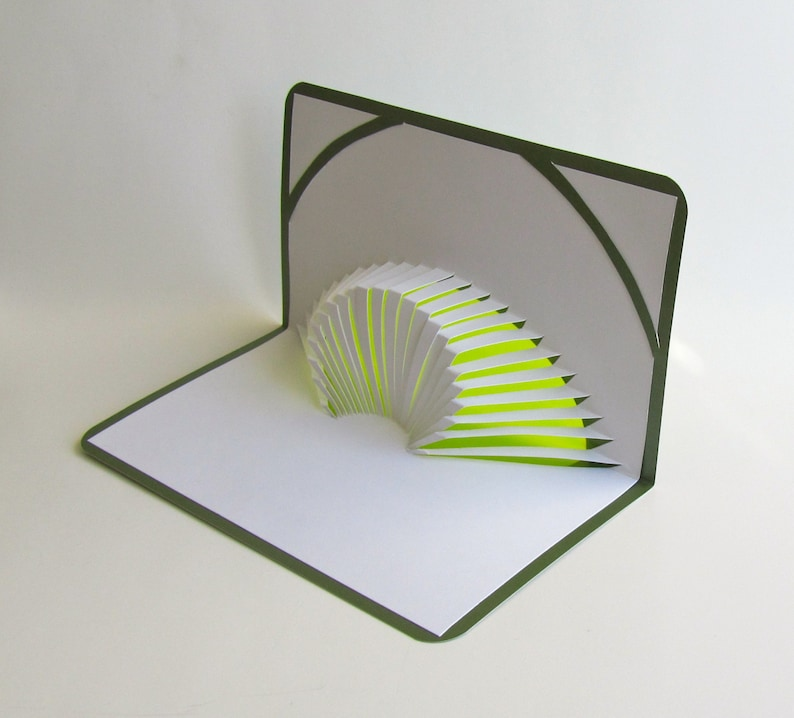 3D POP UP CARD of Geometric Volcano Design With Intricate Cuts image 0