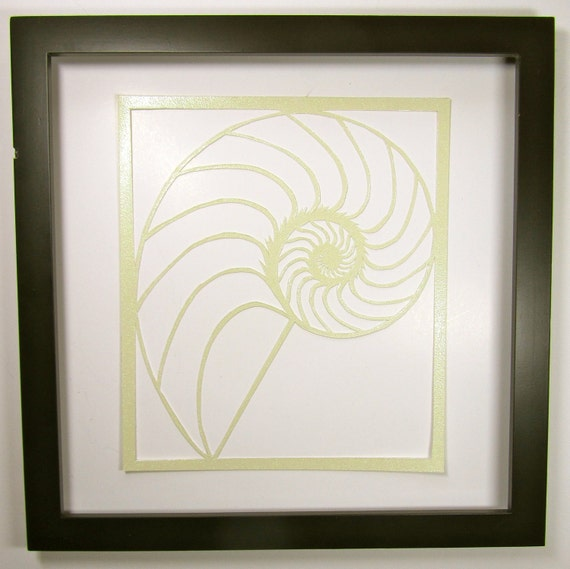 Nautilus Shell Silhouette Paper Cutout In Shimmery Light Etsy