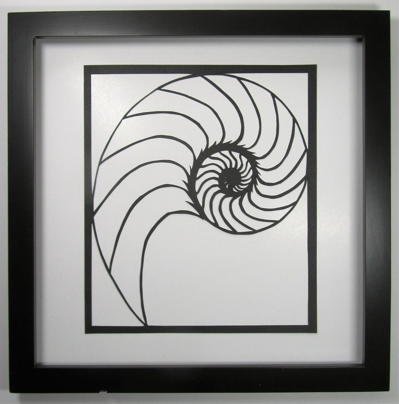 NAUTILUS Shell Silhouette Paper Cutout Handcut in Black image 0