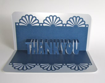 thank you 3d pop up greeting card in metallic blue on metallic silver home dcor handmade