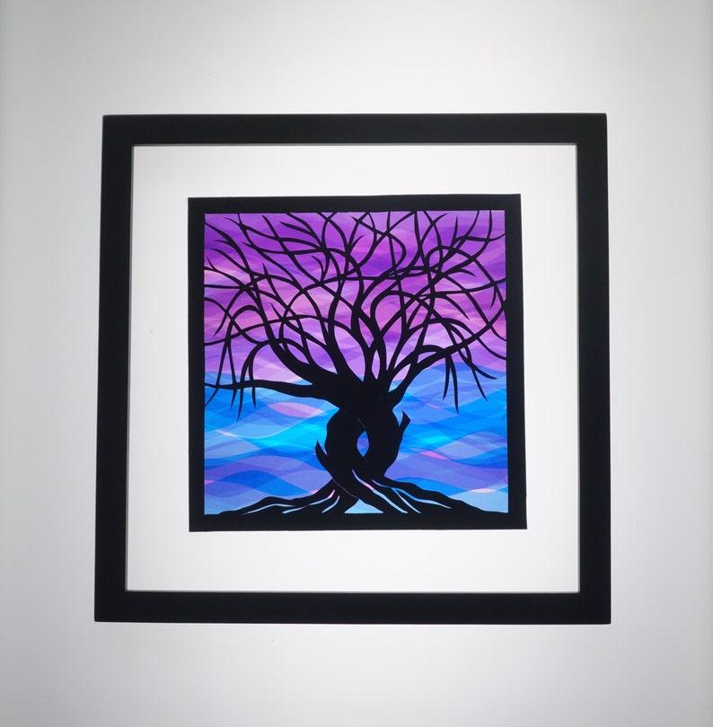 Trees Of Life Paper Cut CUSTOM ORDER Anniversary gift image 0