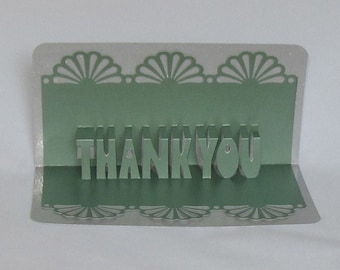 THANK YOU 3D Pop Up Greeting Card in Metallic Green on Metallic Silver Home Décor Handmade, Original Design, One Of A Kind