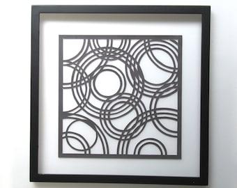 CIRCLES of LIFE ORIGINAL Geometric Paper Cut Design Wall Art Home Décor Handcut Handmade in Metallic Black FRAMeD & Signed One of a Kind