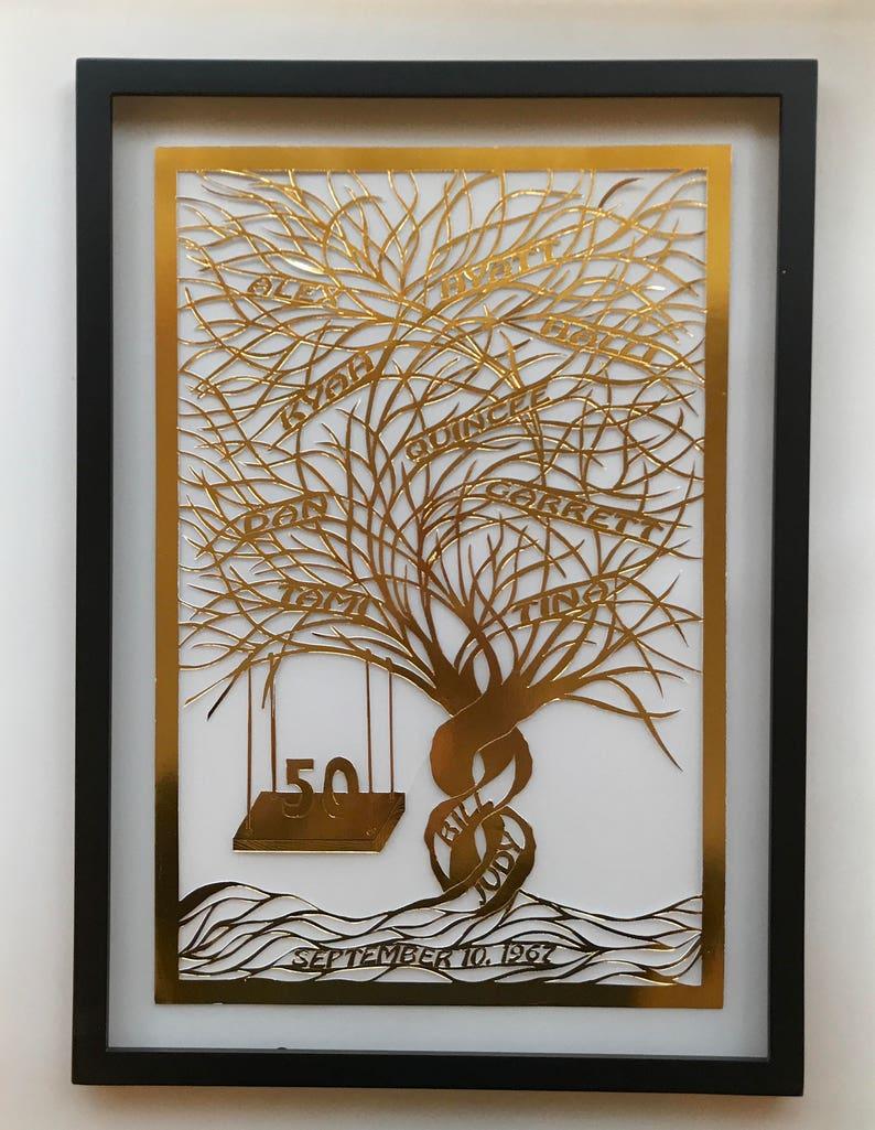 50th Anniversary FAMILY TREE Gift HANDMADe Custom Order in image 0