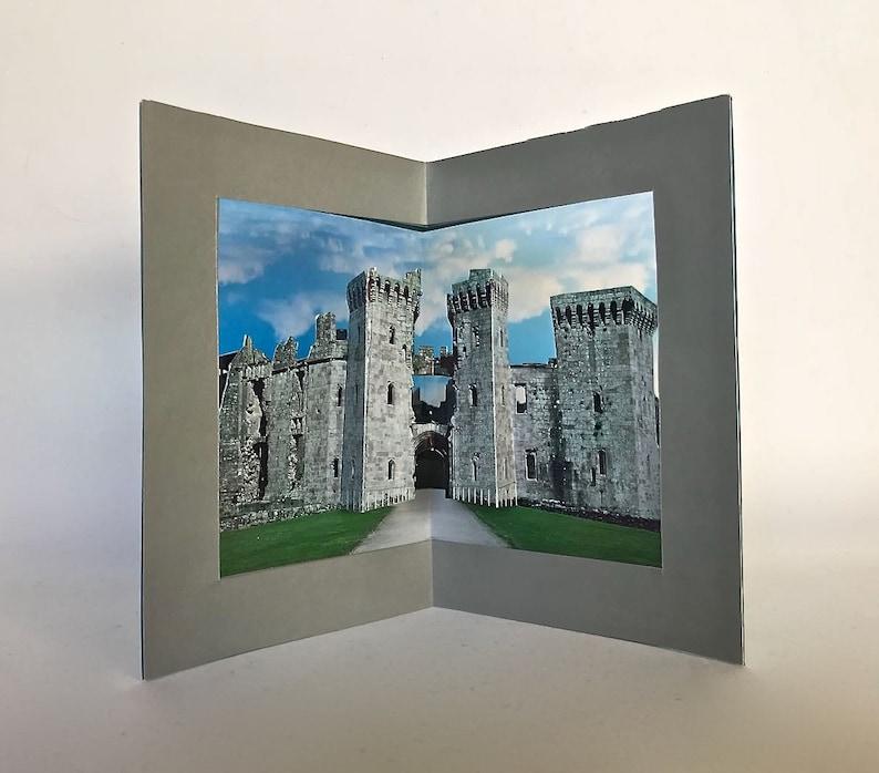 RAGLAN Medieval CASTLE in Wales. ORIGiNAL HANDMADE Greeting image 0