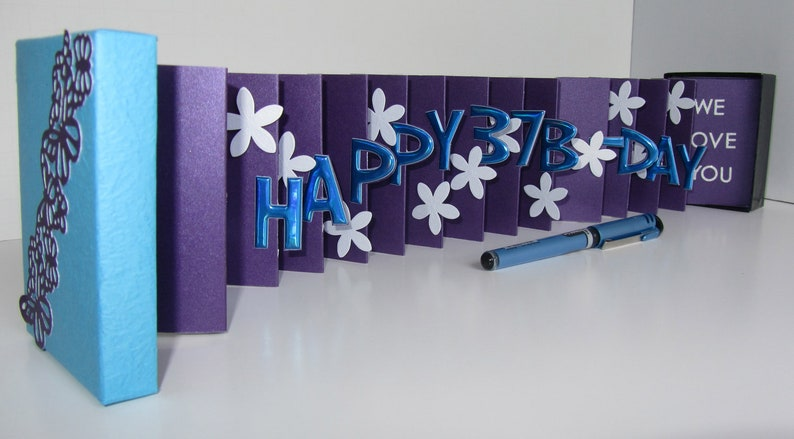 HAPPY 37th Birthday Wishes Pop Up Accordion Book Card In A