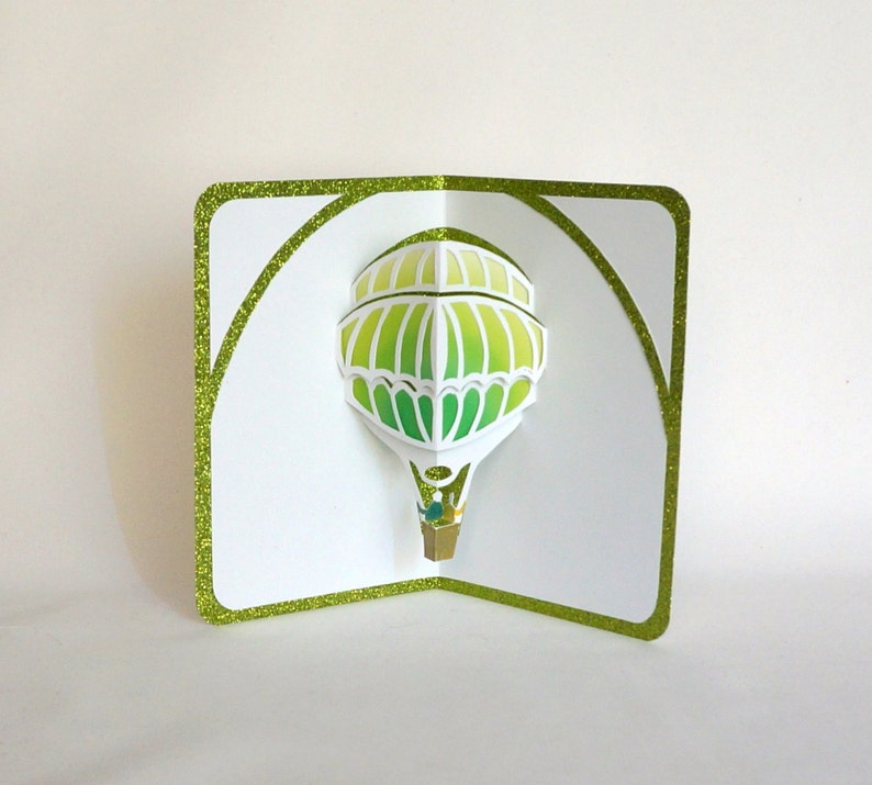 HOT AIR BALLOON 3D Pop Up Greeting Card Home Décor Cut by Hand image 0