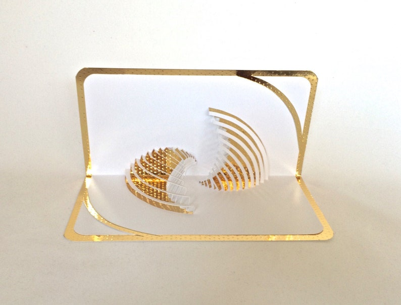 YIN-YANG Pop Up 3D Card in White & Gold Origamic Architecture image 0