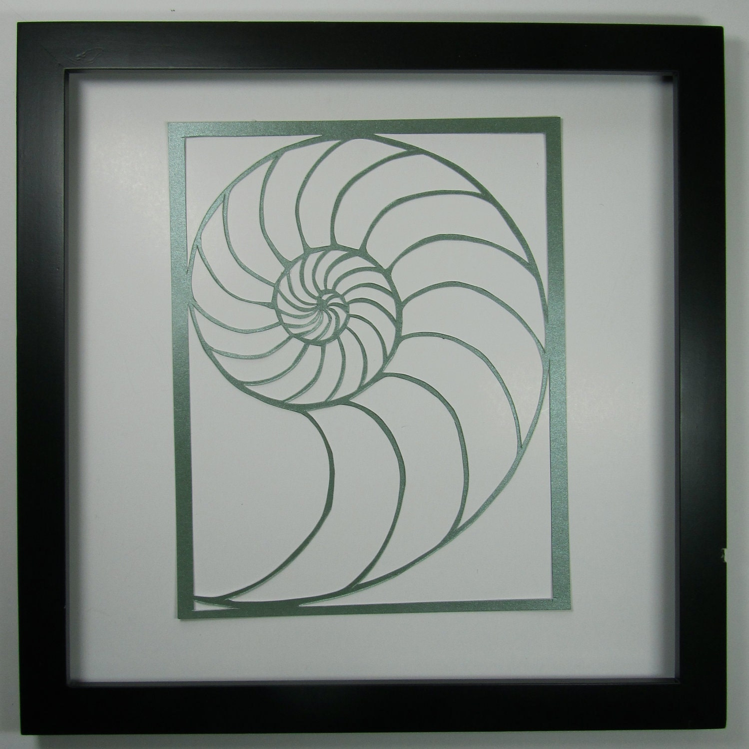 Nautilus Shell Silhouette Paper Cutout In Shimmery Light Green Etsy