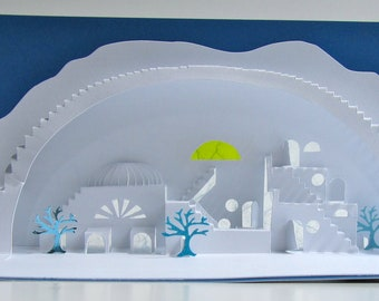 Greek Islands ORIGINAL DESiGN 3D Pop Up Model of a Village under Bridge Origamic Architecture Hone Decor in White & Blue. OOaK SOLD