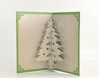 CHRISTMAS TREE 3D Pop Up Greeting Card Home Décor Handmade Origamic Architecture in Metallic Silver Grey and Shimmery Bright Green.