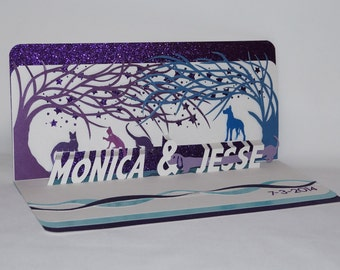ENGAGEMENT CELEBRATION Pop Up Card CUSTOM ORDeR w/Two Trees of Life in White, Purple and Blue Turquoise w/Cats, Dogs and Stars. OOaK.