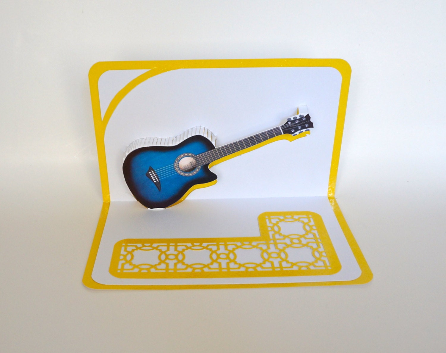 Table A Langer Escalier blue acoustic guitar 3d pop up card original design american idol music  lovers handmade in white and metallic shimmery yellow ooak