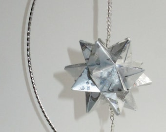 CHRISTMAS Ornament GIFT Modular 3D Origami Spiked Icosahedron Handmade of Shimmery Embossed Silver Paper on Silver Metal ornament OOAK