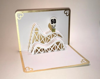 50th Gold ANNIVERSARY  ROLLER COASTER 3D Pop Up Card. Handmade Celebration Greeting Card in White and Metallic Gold One of a Kind