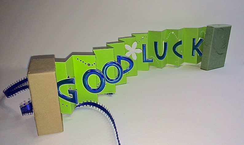 GOOD LUCK WISHES Card in a Box ORIGiNAL DESiGN in Lime Green image 0