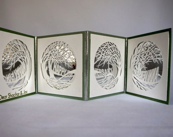 HAPPY 5th ANNIVERSARY Original Design w/Silhouette Papercuts Mirror REFLECTIONS Book-Card Handmade in Green and Off White  Custom Order OOaK