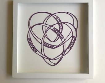 ADOPTION Celebration w/MOTHERHOOD CELTIC KNOt Silhouette Paper Cut Original Design Handmade in Metallic Purple Custom Order One of a Kind