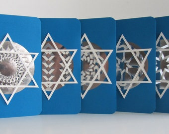 Bar/Bat Mitzva Invitations Handmade With Intricate Lace Paper Cuts in Metallic Silver Paper and Set in Blue & White. Set of FIVE