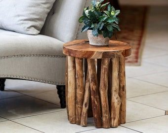 Gathered Teak Branch Table/ Stool Decorative Piece For Living Room, Home accent, Center Table, Aesthetic Piece