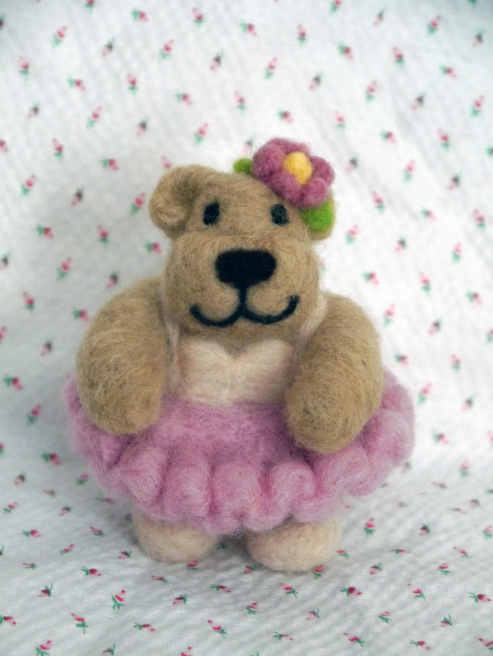 josephine ballerina bear felted figurine, ballet dancer