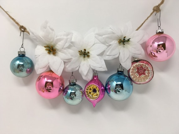 Pastel Christmas Ornaments Vintage Free Shipping Etsy