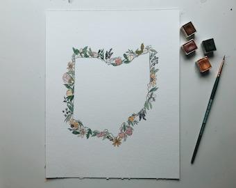 ORIGINAL Wildflower State Illustration // Watercolor State Illustration // State Housewarming Gift // State Home Decor // State Pride Gift
