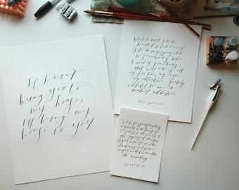 Custom Calligraphy Print // Handwritten // Hand Painted // Scripture Print // Custom Quote // Lyric Quote // Poetry Quote