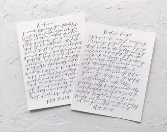 Calligraphy Wedding Vows Print // Wedding Vows Print // Personalized Vows Print // Wedding Vows Calligraphy // Pointed Pen Wedding Vows