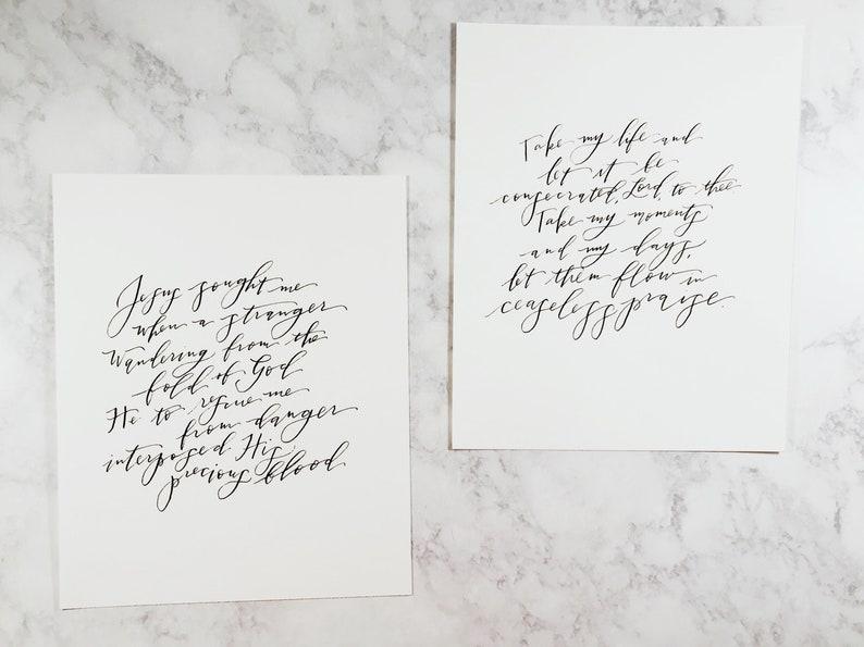 Custom Calligraphy Print // Handwritten // Hand Painted // image 0