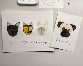 Minimalist Custom Pet Watercolor Portrait // Illustrated Pet Portrait // Simple Pet Portrait // Hand-painted Pet Portrait