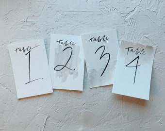 Brush Lettered Table Numbers // Minimalist Table Numbers // Hand Painted Table Numbers // Modern Table Numbers // Table Numbers