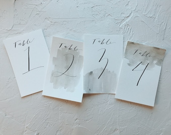 Calligraphy Table Numbers // Minimalist Table Numbers // Hand Painted Table Numbers // Modern Table Numbers // Table Numbers