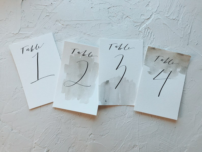 Calligraphy Table Numbers // Minimalist Table Numbers // Hand image 0