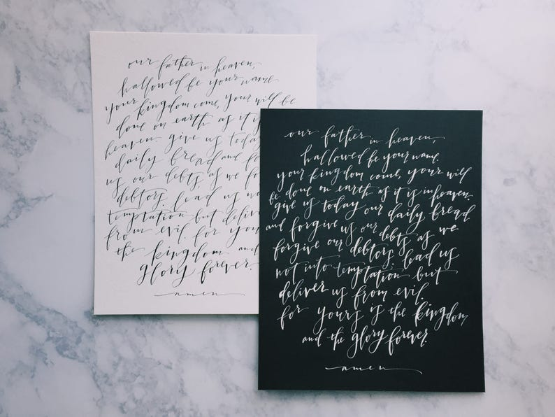 The Lord's Prayer Print // Calligraphy Print // Scripture image 0