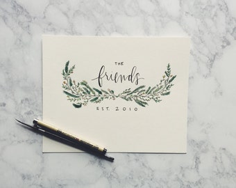 Personalized Name Half Wreath Print // Wedding Gift // Housewarming Gift // Nursery Gift // Custom Print // Custom Wedding Gift