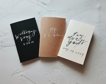 Customized Small Journal // Blank Mini-Notebook // Customized Vow Book //  Personalized Notebook // Custom Calligraphy // Custom Lettering