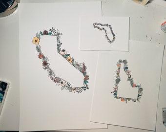State Wildflower Print // State Pride Print // Watercolor Wildflower Print