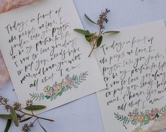 Brush Lettered Handwritten Wedding Vows Print // Wedding Vows Print // Personalized Vows Print // Brush Lettered Wedding Vows