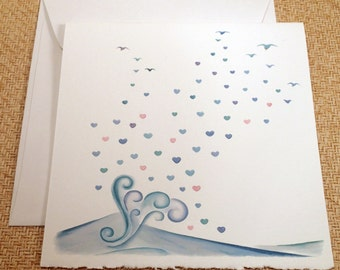 Hearts n' Waves Greeting Card - Send a lil' love to someone special with this unique greeting card.