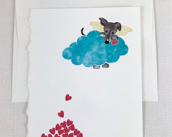 """Greyhound (brown) """"Doggie Heaven"""" Sympathy Greeting Card  - Pet, Dog, Loss, Death - Show your sympathy with this sweet card."""