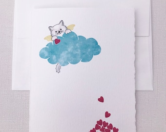 White Cat, Sympathy Greeting Card - Cat, Loss, Death, Card - Show your sympathy with this sweet card.