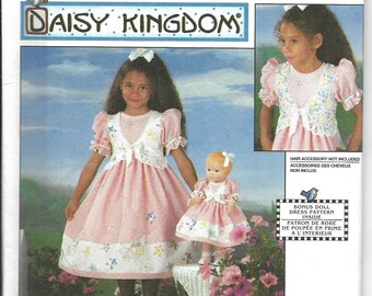 "Simplicity | 7476 | Daisy Kingdom | Child's Dress and Doll Dress for 17"" Doll 