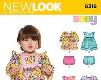 50f98858d736 New Look Pattern 6316 Babies Dress and Panties ~ Factory Folded UnCut  Sewing Pattern