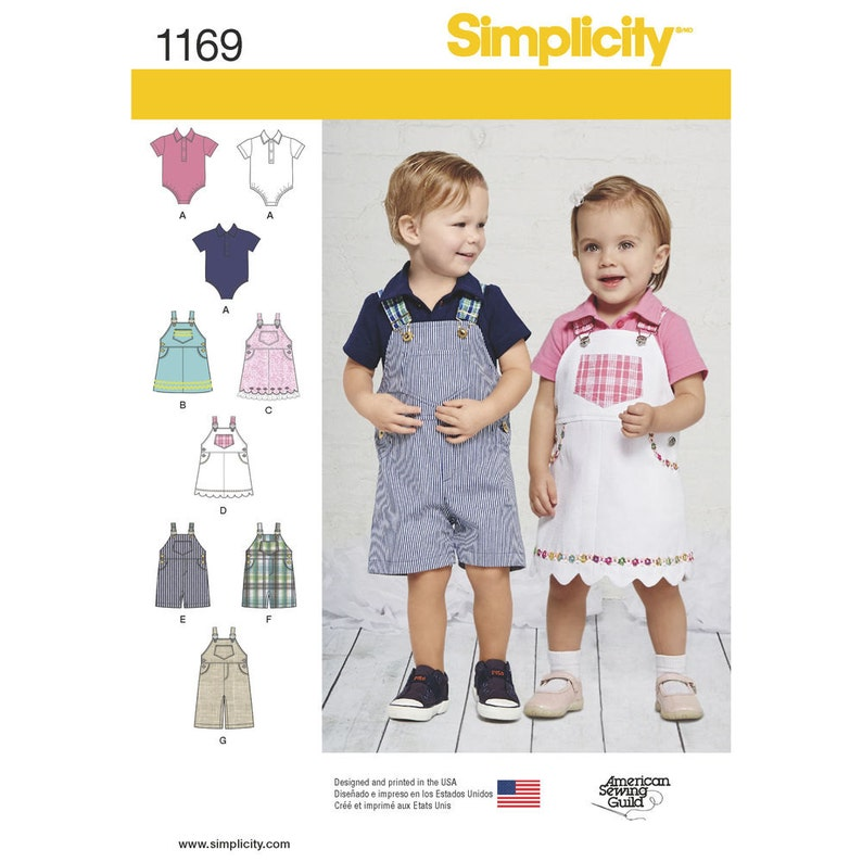 af4e3c61cff7 Simplicity Pattern 1169 Babies' Overalls Jumper and | Etsy
